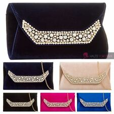 NEW WOMENS LADIES CRYSTAL DIAMANTE DETAIL VELVET PARTY EVENING CLUTCH HANDBAG