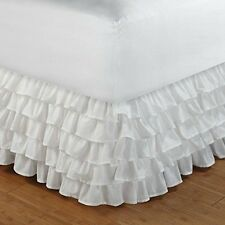 """Classic White 5 Tiered Ruffles Feminine Flair KIng Queen Full Twin Bedskirt 15"""""""