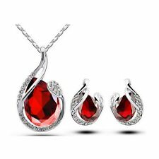 Teardrop Crystal Earring Pendant Chain Necklace Jewelry White Gold Plated
