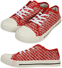 Mens Ladies Kids Daps Trainers Plimsolls New Canvas Shoes Beach Summer Red Girls