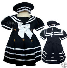BABY GIRL & TODDLER SAILOR FORMAL OUTFITS DRESS NAVY  S,M,L,XL,2T,3T,4T(0M-4T)