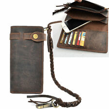Retro Men Leather Biker Long Chain Trucker Wallet Card Holder Checkbook Purse