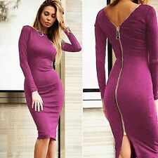 Purple Red Women Bandage Bodycon Long Sleeve Evening Party Cocktail Mini Dress
