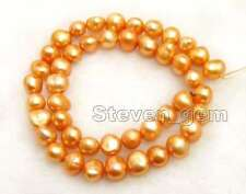 SALE 8-9mm Natural Orange Baroque Freshwater Pearl Loose Beads Strand 14''-lo740