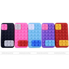 Brick Block Flexible Silicone Soft Bubber Back Case Cover For iPhone 4 4S Hybrid