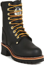 Georgia Mens Black Leather Steel Toe Tanned Logger Work Boots