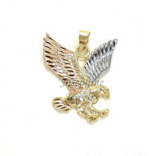 14k Gold Plated 3-Tone Detailed Design Eagle Charm Pendant Animal Bird