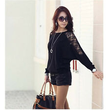 Fashion Women's Batwing Top Dolman Lace Loose T-Shirt Blouse Top Long Sleeve New