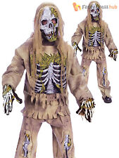 Childrens Zombie Skeleton Costume Kids Boys Halloween Fancy Dress Outfit