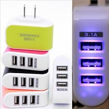 Hot Salings Travel Wall Home AC LED Power Charger Adapter Light 3-Port USB