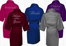 RHINESTONES Bridal party robe, bridesmaid satin robe, personalized satin kimono