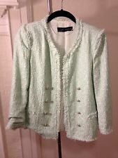 Zara Woman Mint Seafoam Green Boucle Tweed Blazer Jacket Size M