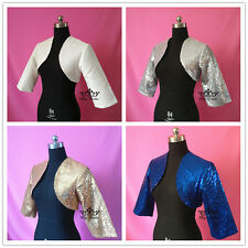 blue Sequins Lace Satin Shawl Bolero Wedding Jacket Bridal  3/4 Sleeves gold