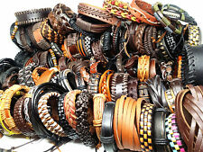 wholesale assorted retro men's top Genuine Leather cuff bracelets mix styles