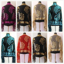 Hot Sale New Chinerse Lady Women Beaded Sequin Shawl/Scarf Wraps Peacock&Flower~