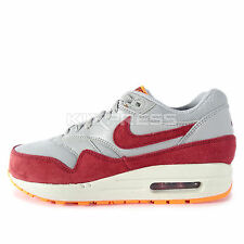 Nike WMNS Air Max 1 Essential [599820-015] NSW Running Wolf Grey/Burgundy-Orange