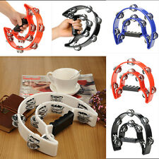 Red Hand Held Tambourine Double Row Metal Jingles Percussion Hot