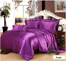 1000-1200TC HOTEL  PURPLE SATIN SILK CHOOSE DUVET / FITTED SHEET SET & SIZE