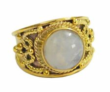 Rainbow Moonstone Gold Plated Ring L-1.5 radiant White india AU K,M,O,Q