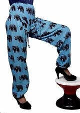 Cotton Casual Elephant Design Boho Trousers Bohemian Yoga Pants for Ladies