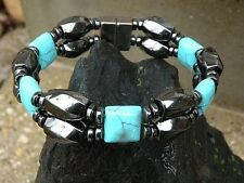 Men' Womans CLASP Magnetic Hematite BRACELET ANKLET w Chalk Turquoise QUICK SHIP
