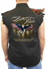 Men's Biker Sleeveless Denim Shirt USA Flag American Pride Bald Eagle Stars/Stri