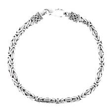 4mm Byzantine Bali Handmade Solid 925 Sterling Silver Chain Anklet Bracelet