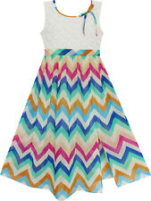 Girls Dress Lace Bodice Multicolor Wave Rainbow Striped Age 7-14 Years