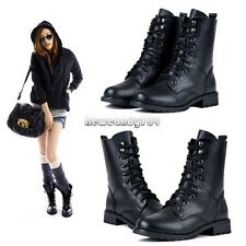 Fashion Women's Cool Black PUNK Military Army Knight Lace-up Short Boots NC8902