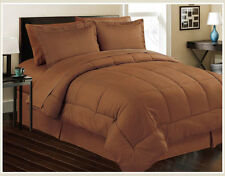8pc Bed In Bag Hotel Comfy Dobby Embossed Comforter Set (Chocolate) Queen & King