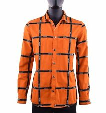 MOSCHINO COUTURE RUNWAY Jeans Shirt with Logo Printed Stripes Orange Black 05401