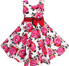 Girls Dress Red Rose Party Summer Sundress Cotton Child Clothing Age 6-12 Years