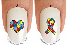 "WaterSlide Decal Set#6508 ""Autism Awareness Puzzle Heart Ribbon 2"" Nail Transfer"