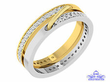 0.84ct Round Cut White Simulated Diamond Two Tone Gold Excellent Wedding Band