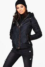 Boohoo Womens Abigail Padded Hooded Jacket With Faux Fur Lining
