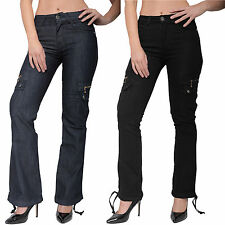 New Womens Ladies Wide Loose Denim Combat Trousers Cargo Jeans Boyfriend Pants