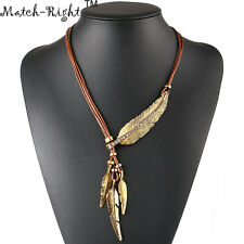 Necklace Pendants Women Alloy Feather Statement Necklaces Vintage Jewelry Rope