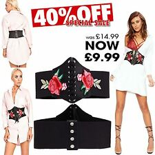New Ladies Cincher Embroidered Waspie Rose Floral Corset Black Lace UP Belt 8-12