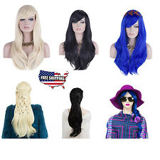 """Long Wig Synthetic Wavy Hair Hairdresser 28"""" Heat Resistant Lady Women Cosplay"""