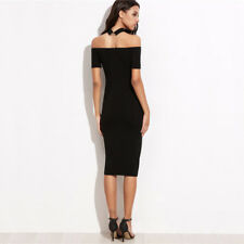 Womens Dresses New Arrival Black Off The Shoulder With Choker Pencil Dress