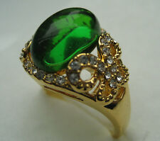 size:5-9 Lady's Princess Setting amethyst &emerald 10kt yellow gold filled ring