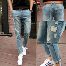 E9 Men's Jeans Slim Fit Runway Straight Denim Pants Destroyed Ripped Trousers