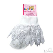 Newborn To 12 Months Frilly Diamante Infant Baby Girl White Ivory Lace Socks