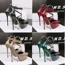 Sexy Crossing Strappy Platform Stiletto Pointed toe High Heels Club Women  Shoes