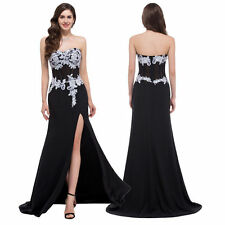 2017 NEW Strapless High Split Chiffon Ball Gown  Bridal Evening Prom Party Dress