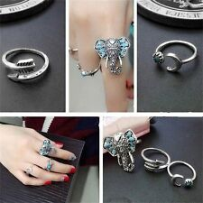 Women Metal Alloy Ring Elegant Punk Style Girls Lovely Party Club Ring Sets GT