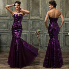 Mermaid Sequins Long Formal Bridesmaid Wedding Evening Prom Gown Pageant Dress