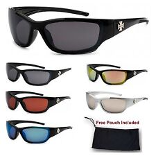 Mens Choppers Biker's Sports Motorcycle Wrap Plastic Sunglasses with Iron Cross