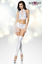 Sexy Gogo Set Top Panty Chiffon Skirt Gauntlets Fetish Dominatrix Clubwear XS-L