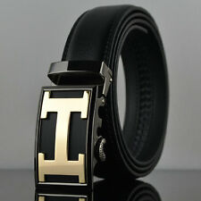 Fashion Casual Gold H Genuine Leather Mens Belt Waistband Strap Automatic Buckle